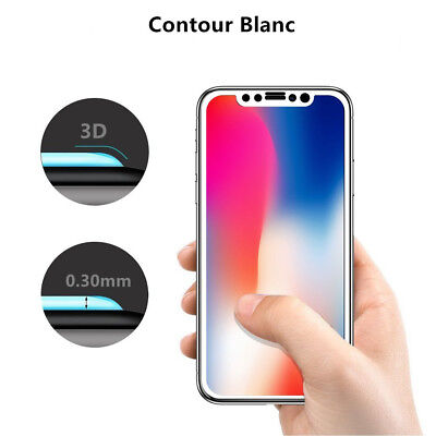 Verre Trempé Intégral Film protection écran iPhone XS Max X XR 6 7 8 + 3D Glass 3