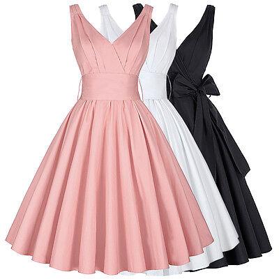 Retro Vintage Stile Pin Up Vestito Festa 40s 50s Swing Lavoro Da Sera Matrimonio 4