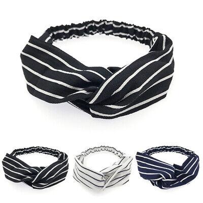 Women Girl Turban Stripe Elastic Head Wrap Headband Twisted Knotted Spa Hairband 5