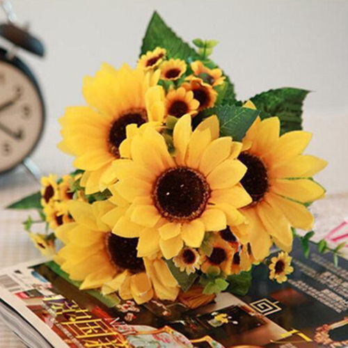 7heads bouquet artificial big sunflower silk flowers room home 1 of 9free shipping 7heads bouquet artificial big sunflower silk flowers room home floral decor cute mightylinksfo