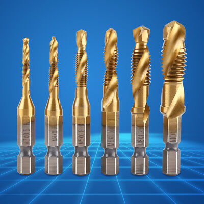 "6pcs Metric Thread Combined Drill and Tap High Speed Steel HSS 1/4"" Hex Shank hh"