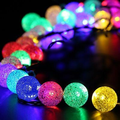 30 LED Solar Powered Garden Party Fairy String Crystal Ball Lights Outdoor 2