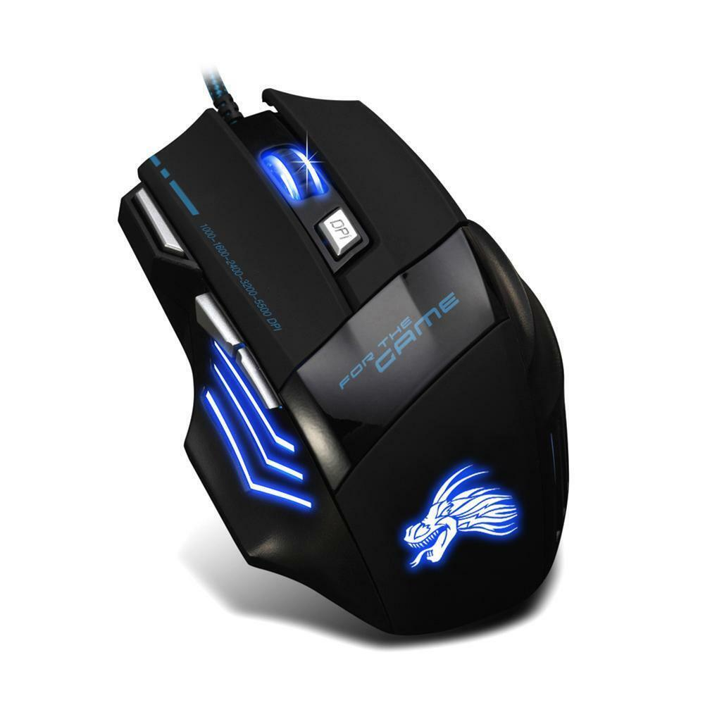 5500DPI LED Optical USB Wired Gaming Mouse 7 Buttons Gamer Computer Mice Black 8
