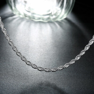 Fashion 925sterling Solid Silver 4MM Snake Rope Chain Men Necklace 16-24 inch 5