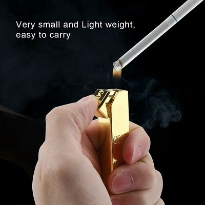 Refillable Cigarette Lighter Gold Bar Shape Metal Butane Gas BBQ Flame Lighter 2