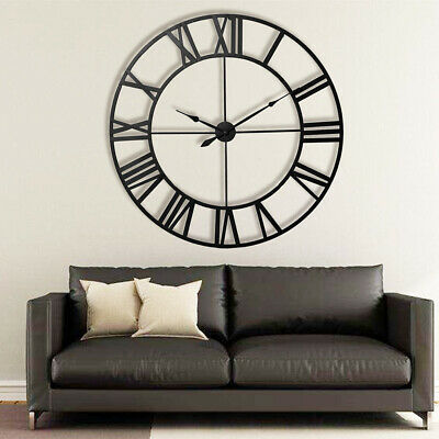 40Cm Extra Large Roman Numerals Skeleton Wall Clock Big Giant Open Face Round 2