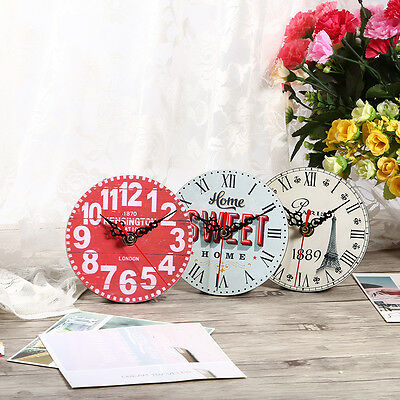 Vintage Rustic Wooden Wall Clock Home Antique Shabby Chic Retro Kitchen Decor HG 6