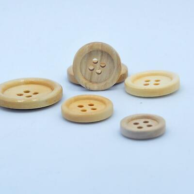 50 Pcs Mixed Wooden Buttons Natural Color Round 4-Holes Sewing Scrapbooking DIY 9