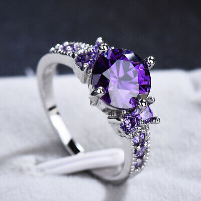 Junxin White Gold Round Cut Purple Amethyst Gem Wedding Band Ring Gift Size 5-10 7