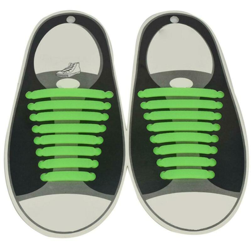 For Kids Adults Easy No Tie Rubber Shoe Laces Trainers Snickers Colored Shoelace 10