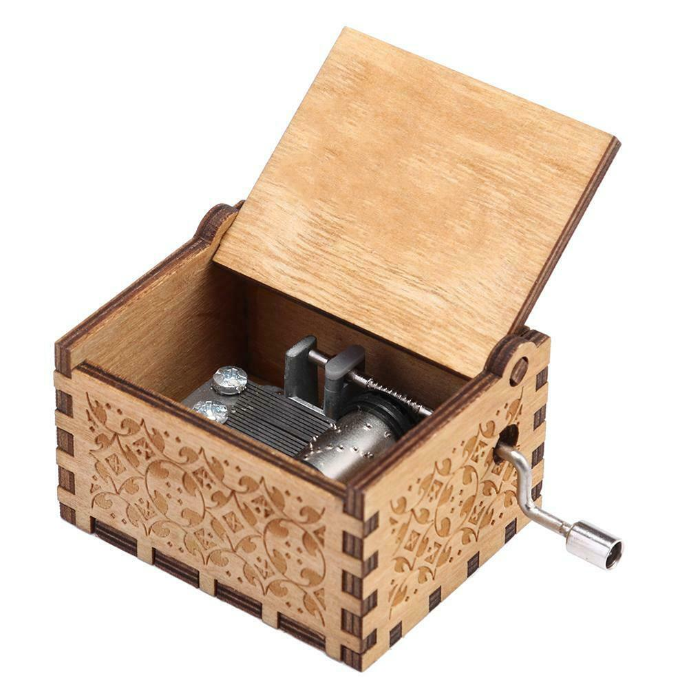 Retro Wooden Engraved Hand Cranked Music Box Kid Gift Household/Shop Craft Decor 2