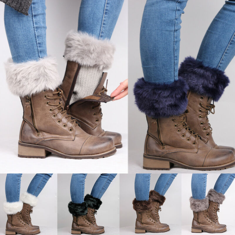 Women Knit Faux Fur Boots Ankle Winter Warm Stockings Socks Hosiery Leg Warmers