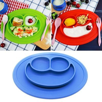 One-piece Silicone Mat Baby Kid Table Food Dish Suction Tray Placemat Plate Bowl 3