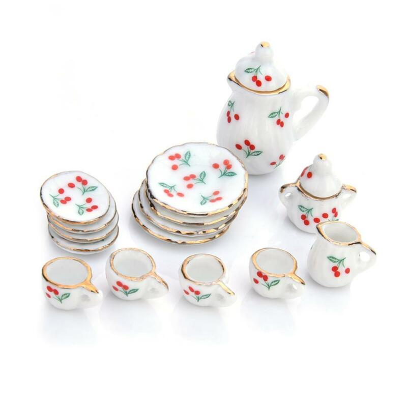 15pcs Mini Dollhouse Miniature Tableware Porcelain Ceramic Coffee Tea Set 1:12 4
