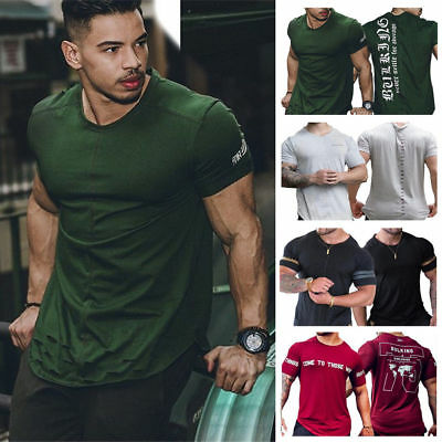AU Mens Gym Muscle Bodybuilding Cotton Sport Fit Fitness Casual T-shirt Slim Tee