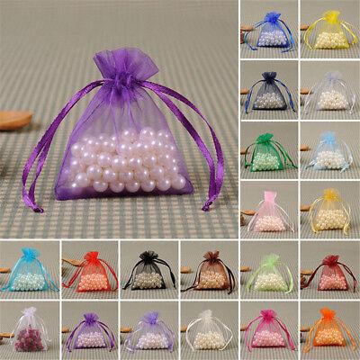 100x Large Organza Favour Pouches Gift Bag Voile Net Bags Drawstring Multi Color 6