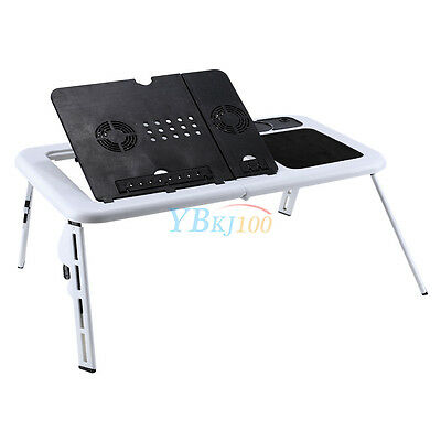 3 Of 12 Foldable Table E Bed Laptop Lap Desk With Cooling Fans Usb Stand Tv Tray