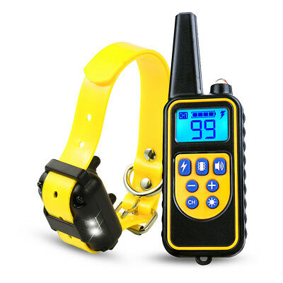 880yard 1/2/3 Dog Shock Collar LED Waterproof IP67 Rechargeable LCD Pet Training 3