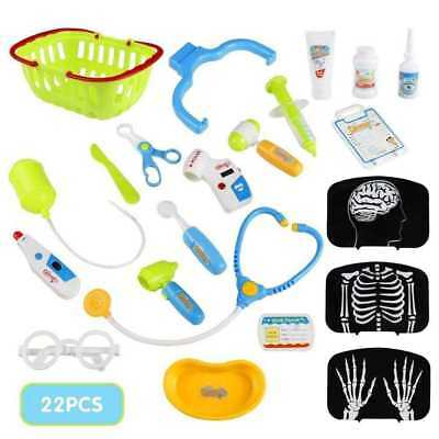 22 Piece Kids RED Doctors Nurses Role Play Medical Trolley Toy Lights Up 660-44 2