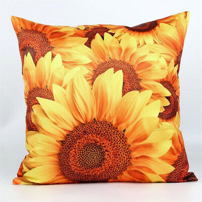 3D Yellow Sunflower Polyester Throw Pillow Case Cushion Cover Home Decor Eyeful
