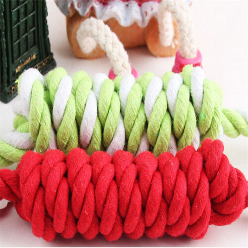 NEW Puppy Dog Pet Chew Toy Cotton Braided Bone Tug Play Game Rope Knot Toy 2
