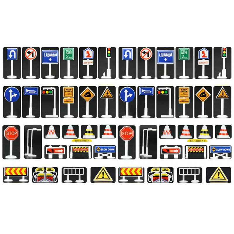 Traffic light Signs Model Toy 28pcs/lot DIY Mini Signpost Traffic Scene Educatio