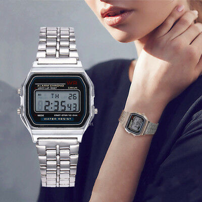 Simple Men Women Digital Display Square Dial Alarm Stopwatch Wrist Watch Conven 2