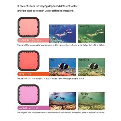 Diving Filter Underwater Red Magenta Snorkel Color Filters for GoPro HERO5 6 7 3