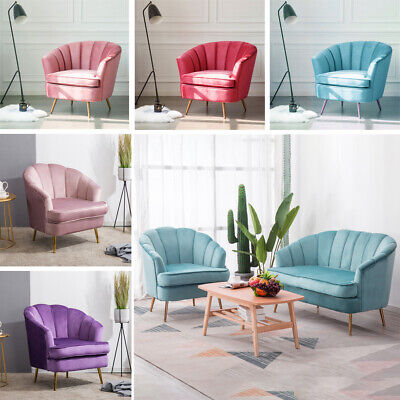 Blush Pink Velvet Lotus Seat Shell Tub Chair Armchair 2 Seater Sofa Couch Settee 7