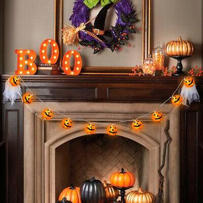 10 LED Pumpkin String Fairy Lights Lantern Party Home Props Halloween Decoration 11