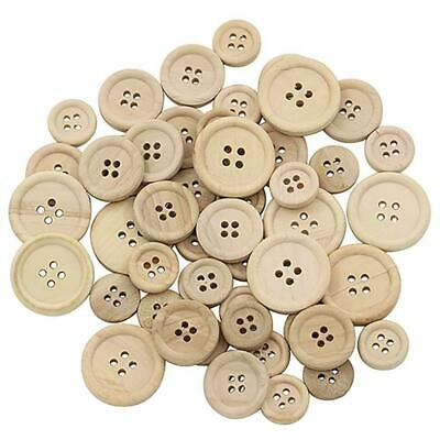 50 Pcs Mixed Wooden Buttons Natural Color Round 4-Holes Sewing Scrapbooking DIY 3