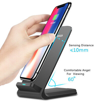 Qi Wireless Fast Charger Charging Pad Stand Dock For Galaxy S9+ iPhone X XS Max 4
