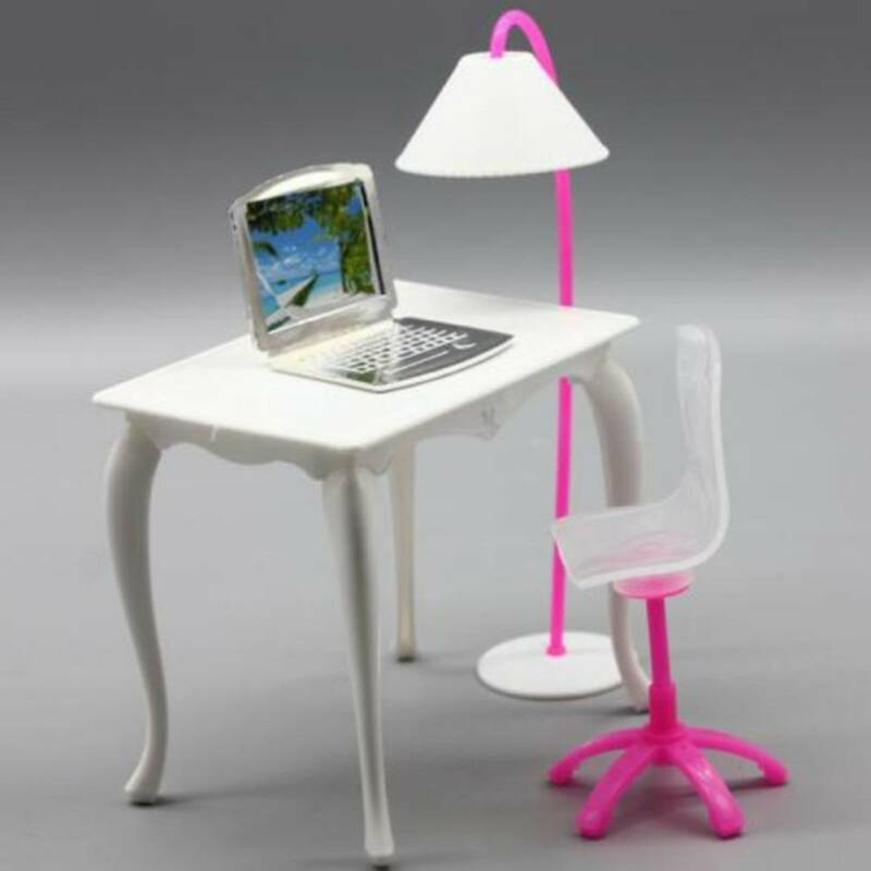 Office Room Furniture Desk Chair Computer Laptop Floor Lamp for Barbie Dolls AU