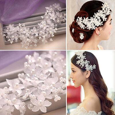 3 of 9 Bridal Wedding Pearl Crystal Rhinestone Headband Party Tiara Hair Accessories