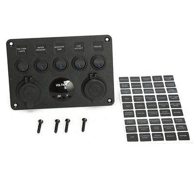 12V 24V 5 Gang Car ON-OFF Toggle Switch Panel Dual USB Socket Charger Voltmeter 7