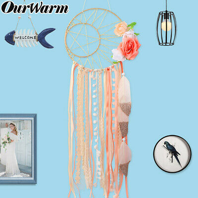 Bohemian Wall Hanging Dream Catcher Handmade Feather Dream Catcher with Flowers 2