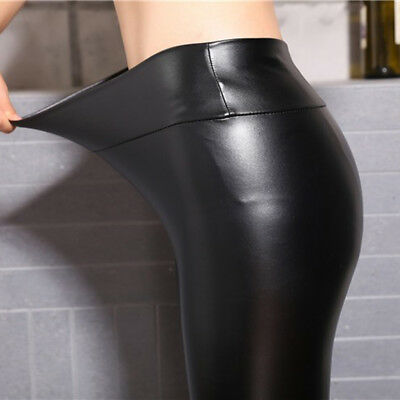 Women Skinny Faux Leather Stretchy Pants Leggings Pencil Tight Trousers Pretty 10