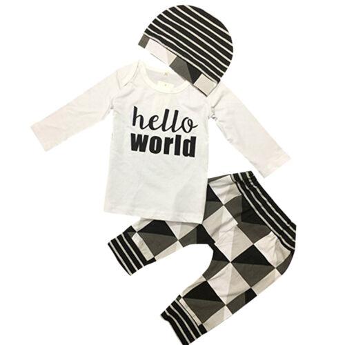 3Stk Set Neugeborene Baby Langarm Jungen Shirt + Hose +Hut Baumwoll Neu 2