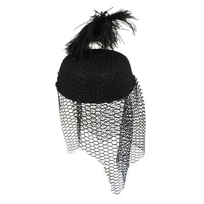 Womens Black Netted Veil Funeral Pillbox Mourning Grieving Widow Hat w// Feather