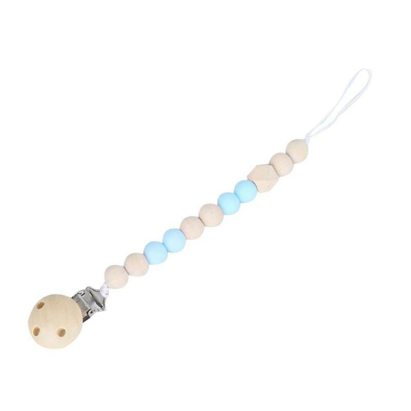 Baby Infants Pacifier Clip Wooden Chain Soother Beads Nipple Holder Chewing Toy 7