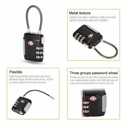 TSA Approve Luggage Travel Suitcase Bag Lock [3 Digit Combination] Padlock Reset 6