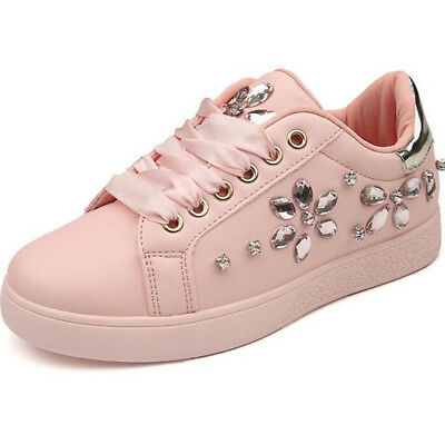 New Women Spring Autumn Rhinestone Lace UP Sport Low Top Shoes Casual Sneakers 6