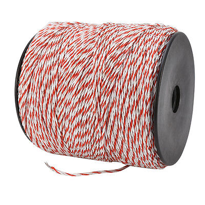 1000m Roll Polywire Electric Fence Fencing Stainless Steel Poly Wire Insulator 5