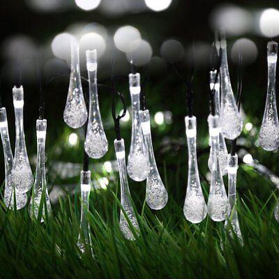Solar Garden Fairy String 100 200 LED Light Rain Drop Crystal Bulb Outdoor Party 6