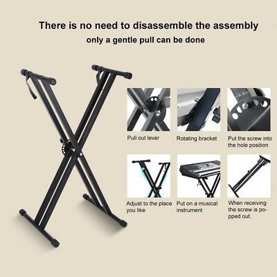 Portable Heavy Duty X Frame Folding Adjust Heights Keyboard Stand Piano + Straps 6