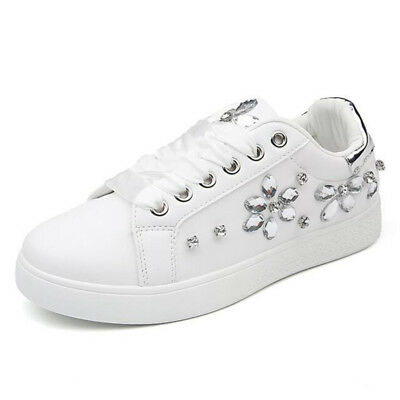New Women Spring Autumn Rhinestone Lace UP Sport Low Top Shoes Casual Sneakers 5