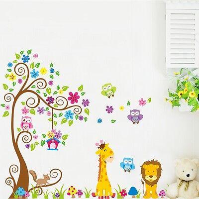 XXL WANDTATTOO BAUM Tiere Afrika Löwe Giraffe Eule Kinderzimmer ...