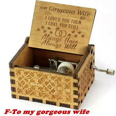 Wooden Music Box Mom/Dad To Daughter -You Are My Sunshine Engraved Toy Kid Gift 8