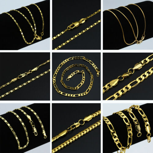 16-30'' 18K Gold Plated Curb Belcher Trace Figaro Chain Necklace For Women Mens 5