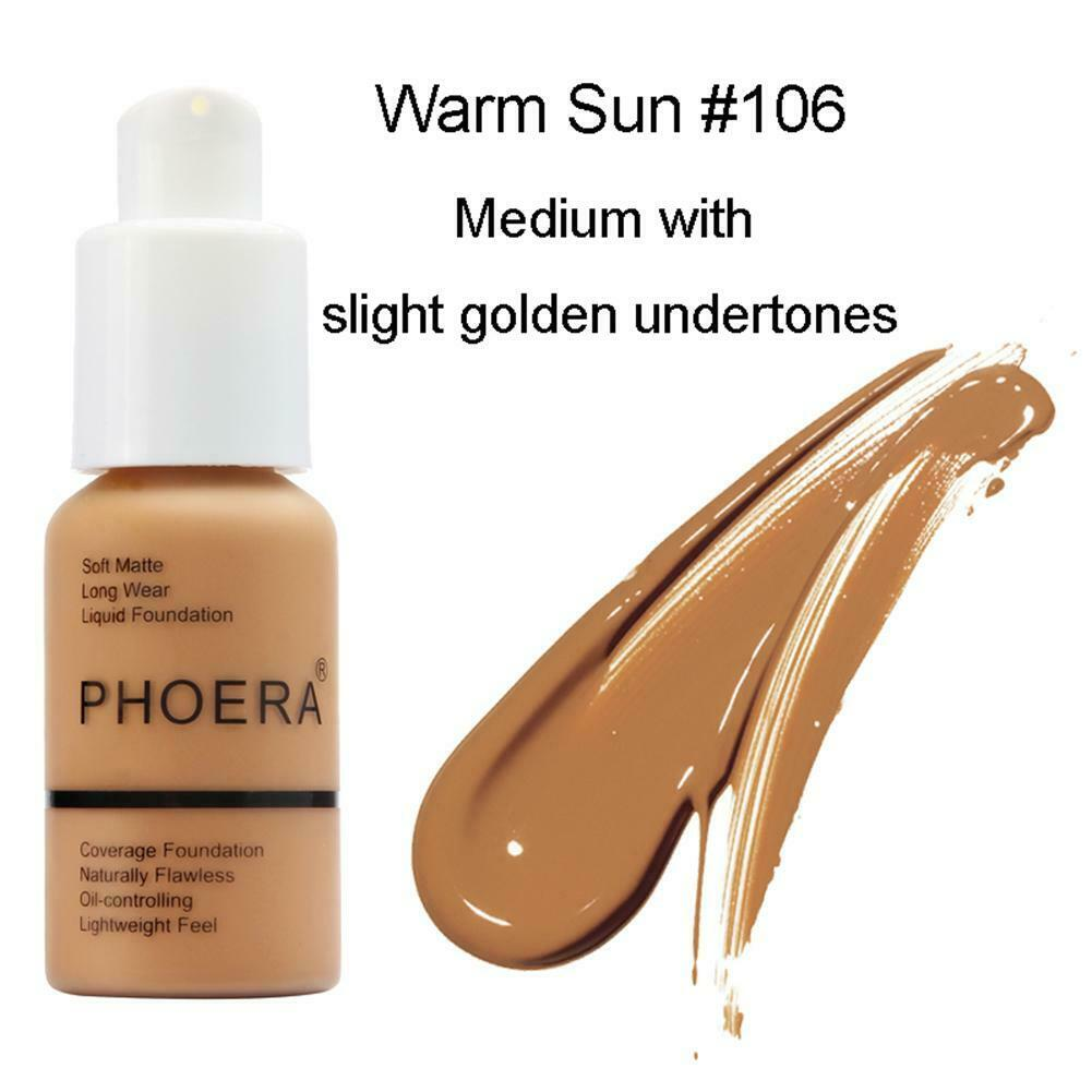 PHOERA Soft Matte Oil Full Coverage Liquid Foundation Concealer Longlasting 30ML 6
